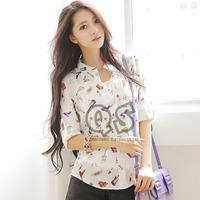 2014 autumn new fashion print women blouse & shirts chiffon casual blusas girl tops Q1003
