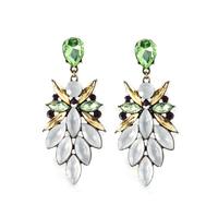 Fashion European Style Bronze Alloy Crystal Rhinestone Flower Leaves Shourouk Earring