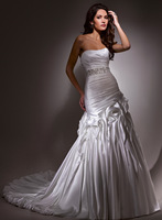 Luxury strapless satin natural waistline bridal dresses A3560A