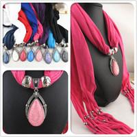 2014 Newest design tassel scarf EUROPE popular resin alloy pendant scarf ladies