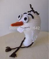 2014 New Crochet Frozen Olaf Snowman Hat ,Children Boys Olaf Handmade Cotton Hat Olaf Beanie Wholeslae  30pcs/lot mixed design