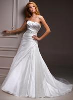 Modest a-line court train strapless brides gowns A3562
