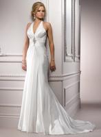 Sex halter neckline A-line chiffon wedding gown A3584