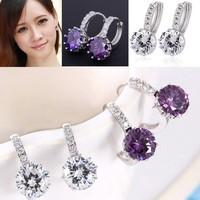 New Women's 925 Sterling Silver Clear Crystal Zircon Cz Charm Ear Drop Earrings