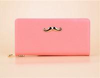2014 fashion Cute golden mustache Women's Wallets Clutch Wallet Long PU Card holder Purse 4 color free shipping