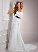 Sweet white A-line long chiffon wedding party dresses A3589