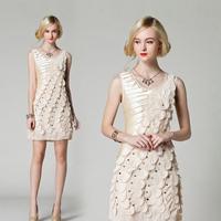 2015 Female Summer Wholesale Fashion Women Beading Dresses Short Party Wear Clothing Vestidos Colors Factory Price Dress QBD391
