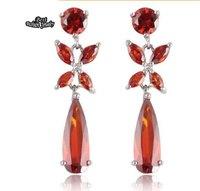 Ruby Jewelry Red Crystal Zircon Long Drop Earring European Style Fine Jewelry ZC196ER