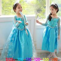 new frozen costume long sleeved sequin frozen dress princess gauze dress 5 pieces wholesale