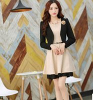 Spring and autumn dress 2014 new large size women slim slim skirt long sleeved jacket two piece suit dress