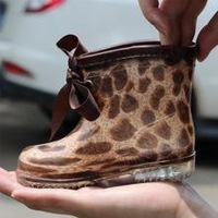 2014 new fashion Leopard kids children's rain boots for baby/boys/girls Waterproof&slip shoes bow rainboots