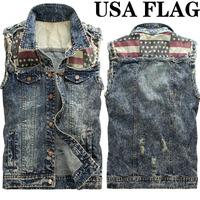 men jean vest us flag snow spots denim vest New street fashion flash scratches denim outwear casual mens JEANS coat fishing vest