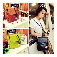 1Pcs Fashion Girl Women's Retro Candy Color Bucket Bag PU Leather Handbag Cross Body Bag Purse Messenger Bag Satchel gi640556
