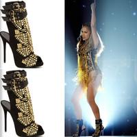 2014 Free shipping gladiator sandals women brand sexy peep toe beaded high heels women sandal shoes woman sandalias femininas