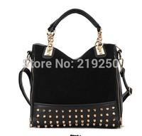 2014 women retro matte stitching rivet handbag shoulder bag tide free shipping
