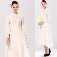 2014 Autumn Dress Long Sleeve Asymmetrical Hem Elegant Long Formal Dresses Women Plus Size White Office Long Evening Dress 14895
