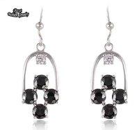 Black Crystal Zircon Branded Dangle Earring cubic zirconia earrings Geometric Drop Earring ZC208ER