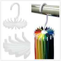 New 1Pcs White Rotating Tie Rack Organizer Hanger Closet Organizer Storage Scarf Rack Tie Rack Holds 20 Neck Ties ic672299