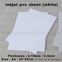 Inkjet white PVC Sheet  A4*0.15mm for 100pcs