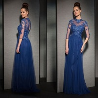 New Design Blue High Neck Tulle A-line High Neck Long Half Sleeve Lace Applique Evening Dresses Prom Dresses robe de soiree 2014