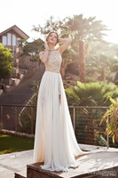 2015 Julie Vino summer beach high waist empire wedding dresses chiffon side slit  halter backless court train bridal gown