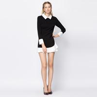 YIGELILA 6693 Latest Autumn New Cute Women Peter Pan Collar Ruffles Dress Free Shipping