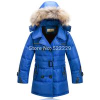 Boy  Down Coat Children's Down Jacket Duck Down medium-long male child winter thickening slim duck down without hood