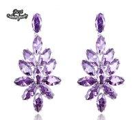 Earring Amethyst Cubic Zirconia Dangle Earring Women Fashion Drop Earring Purple Leaves Earring ZC217ER