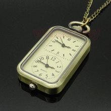 Vintage Bronze Quartz Steampunk Pocket Watch Dual Double Time Zone Movement Necklace P11(China (Mainland))