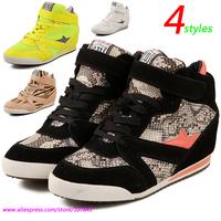 Serpentine ASH Air Mesh Fashion Wedges Sneakers,Snake Pentagram 4-styles,Size 35~39,Hidden Height Increasing 5cm,Women`s Shoes
