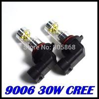 50x 30W CREE XBD 9006 HB4 Auto LED DRL Day Driving Light Bulb Lamp Xenon White 12V 24V car light source Free Shipping