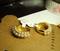 4pcs/lot 2014 womans trendy gold plated fake pearl #5 finger rings hand jewelry anel aneis Dourado joias party gift