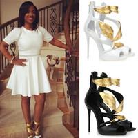 2014 Free shipping gladiator sandals women brand gold metallic leaf sandals open toe women sandal ladies high heels shoes woman