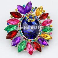 New 2014 Fashion Wedding Brooches Multicolor Acrylic Rhinestone Flower Brooch Pins Women Gifts Wedding Jewelry Wholesale