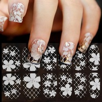 3D White Transparent Lace Flower Manicure Tip Decals Nail Art Stickers French Full Cover Patch Wraps Tips Tools 16 Desgins