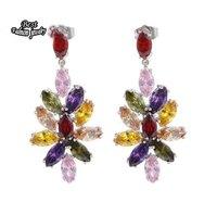 Colorful Crystal Zircon Dangle Earring Bridal Earring ZC215ER