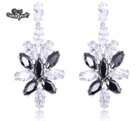 Black with White Crystal Zircon Dangle Earring Leaf Crystal Drop Earring High Quality ZC219ER