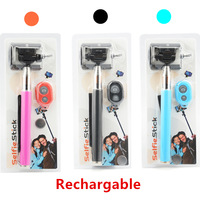 20sets/lot Extendable Handheld Camera Mobile Phone Selfie Monopod Clip+ Recharge Bluetooth Remote Control for Smartphone CL-70-B