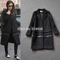 2014 new fashion women autumn winter victoria beckham vb style wool coat long sleeve black outerwear plus size coats street wear