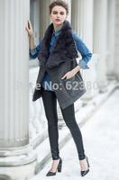 Free Shipping New 2014 Hot-selling Warm Lady Waistcoats Sleeveless  Fur Collar Winter Wool Vest for Women