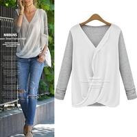 Hot new Fashion New Women Stitching Knitted Blouse V neck Chiffon Tops Casual long sleeves shirts free shipping