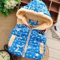 New 2014 Children Vests Star Pattern Moustache Boys' Warm Vest Baby Girls Winter Waistcoat Kids Outerwear Zipper
