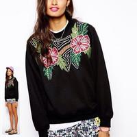 2014 autumn Women's Knitted Sweatshirt Floral print Sweatshirts for women Desigual elegant ladies pullovers shirt free shipping