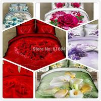 hot sale,unique 3d reactive printing bedding set 4pcs queen size, duvet cover + bed sheet + pillowcases,28style red rose penoy