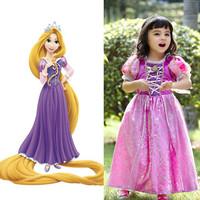Quality 2014 Kids Baby Girl Dress Rapunzel Princess Halloween Costumes Cosplay Birthday Party Children Dress Fantasia Vestidos