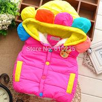 New 2014 Children Vest Sun Flower Rabbit Girls Vests Soft Warm Kids Waistcoat Baby Girls Winter Button Outerwear