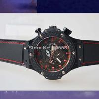 new design fashion three circles men watch luxury classic hub  racing black man mechanical watch  lot Brand Sports Watches