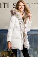 New Arrival 2014 Winter Cony Hair Fur Collar White Duck Down Winter Costume Warm Slim Women Down Jacket
