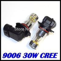 2pcs 9006 led High Power 30W 6LED Pure White Fog Head Tail Driving Car Light Bulb Lamp 12V 9006 30W foglamp car light source