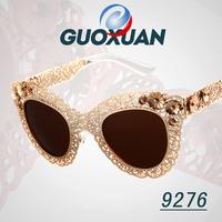 4 Colors Elegant Lace Flower Hollow Cat Eye Glasses 2014 New Vintage Fashion Summer Cool Sunglasses Women Men Brand Designer